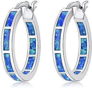Sterling Silver Plated Hoop Earrings,Multicolor Opal Small Hoop Earrings for Women Girls Hypoallergenic Jewelry for Sensitive Ears Gemstone Round Hoops 19mm
