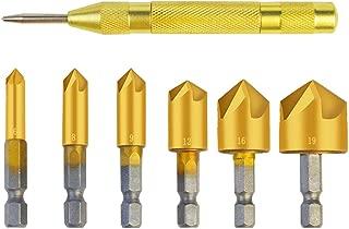 7本セット ドリルビット heliltd ハイス鋼 面取りカッター 5枚刃 六角ビット 6mm/8mm/9mm/12mm/16mm/19mm 自動センターポンチ