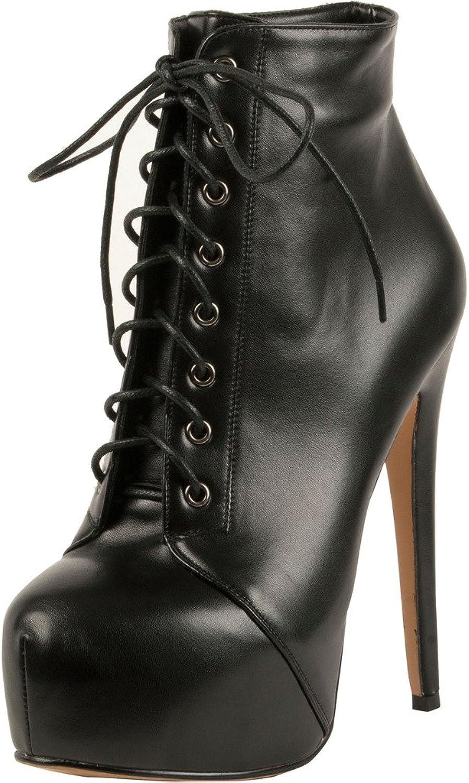Calaier Womens Caclub 2016 Designer Luxury Stylish Platform Super High Heel Round Toe 15CM Stiletto Lace-up Boots