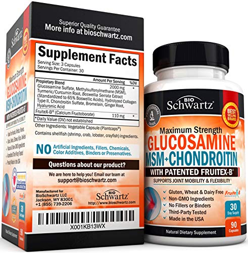 Glucosamine Chondroitin MSM Turmeric for Hip, Joint & Back Pain Relief. Anti Inflammatory Supplement with Hyaluronic Acid, Collagen, Boswellia, Bromelain & Fruitex-B. Gluten Free & Non GMO