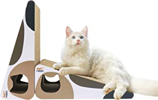 MSBC Cat Scratcher Carboard Triangle Shape Set of 2 with Catnip, Kitty Cat Scratching Pad Recycle Corrugate Scratcher Cat Scratch Lounge Long Lasting Reversable Inclinded Vertical