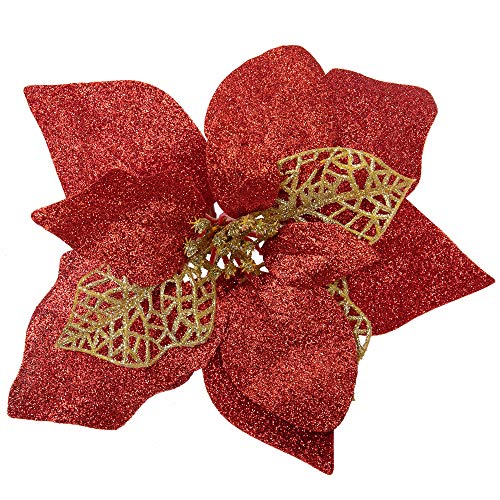 22 Artificial Poinsettia Christmas Flowers Decorations for Christmas Tree Ornaments Red & Gold Glittered Flower with Clips