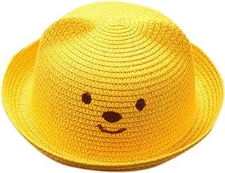 Sombreros y gorras Bebé, Niños Bebé Niño Niña Sombrero de Paja Playa Sombrero de Osoito Gorro de Sol de Ocio al Deporte Aire Libre Verano para Unisex Niños 2-6 años (Amarillo)