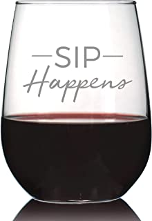 Sip Happens – Cute Funny Wine Stemless Glass, Large 17 Ounces, Etched Sayings, Gift Box
