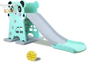 Children Slide Set 2020 Toddler Playground Set with Basketball for Indoor and Outdoors Dinosaur Pale Blue