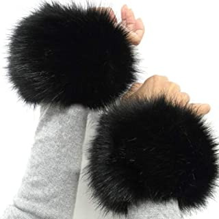 Faux Fur Cuffs Arm Leg Warmers - HOMEYEAH Furry Wrist Cuff Warmer For Women Party Costumes Gifts