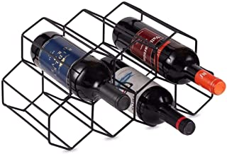 KirinRen Black Metal Wine Rack Freestanding, Tabletop Wine Rack Holder, Countertop Wine Bottle Holder - Geometric Design f...