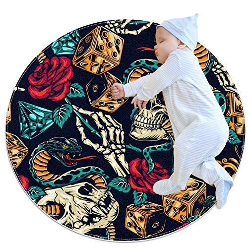 Alfombra redonda para gatear de bebé, gruesa, para niños, con impresión 3D, alfombra de dormir suave, alfombra de 70 cm, lavable a máquina, diseño vintage de rosa serpiente
