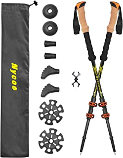 Nycoo 100% Carbon Fiber Hiking Sticks, Adjustable Trekking Poles for Backpacking, Ultralight Antishock Hiking Poles with Cork Grip Quick Locks 4 Baskets Attached Yellow 2 Pack