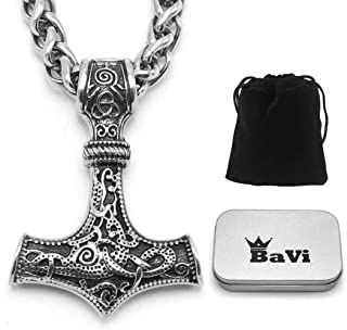 Mjolnir The Thor's Hammer Pendant Necklace ♦ Stainless Steel ♦ Norse Scandinavian Necklace ♦ Authentic Viking Jewelry