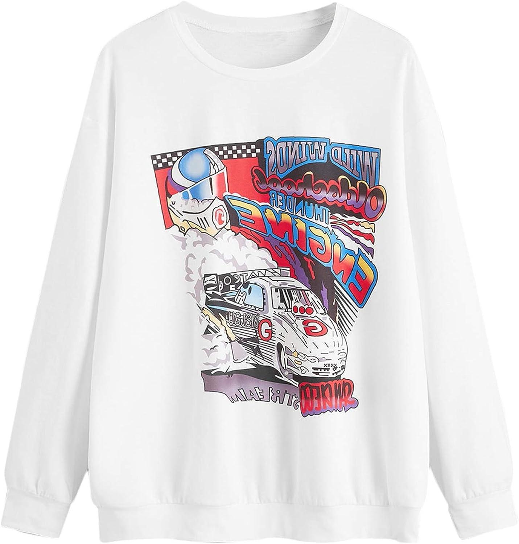 Romwe Women's Casual Round Neck Long Sleeve Lightweight Solid Sweatshirt