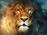 LY88 Bordado de Animales de león de 40x50 cm DIY, Costura de Pintura Completa, Punto de Cruz, Kits, Punto de Cruz 14CT, Juegos para Bordado