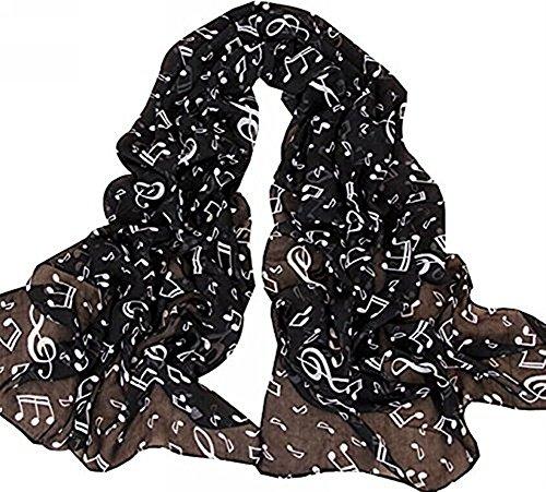 Bufanda de gasa de Da.Wa, ligera, para verano, con diseño musical, bufanda larga tipo chal para mujeres y niñas , Gasa, negro, 172CM*34CM