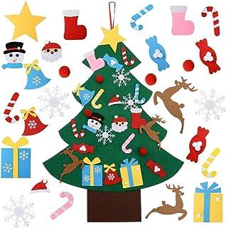 OFUN Árbol de Navidad de Fieltro, decoración de Bricolaje para el hogar/Puerta/Pared de Invierno de 95 cm para niños, 26 Piezas y 2 Adornos de Botella de Vino para el día del niño