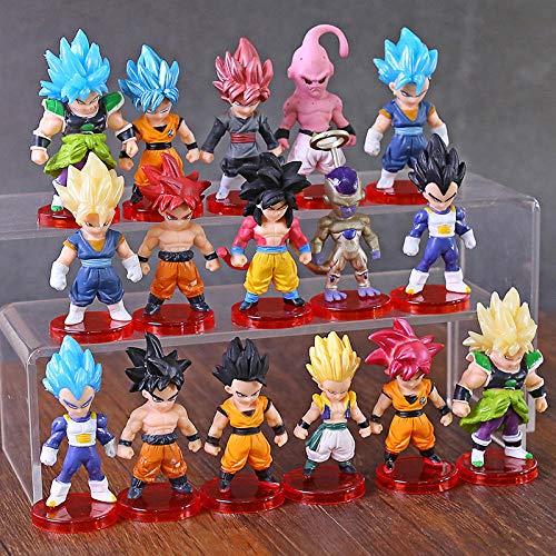 Nobranded 16 unids/Lote Dragon Ball Super Saiyan Dios Figura de acción Son Goku Gohan Vegeta vegeto Frieza Zamasu Ultra Instinct Modelo Juguetes Regalo