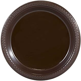 JAM PAPER Round Plastic Party Plates - Medium - 9 inch - Brown - 20/Pack
