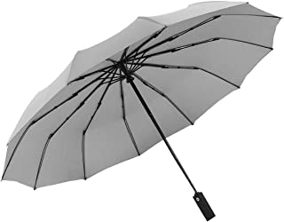 Travel Folding Golf Umbrella,Teflon Umbrella Automatic Switch 12 Bone high Strength Fiberglass not Easy to Break Strong Wind, Strong Waterproof, Sunny and Rainy Dual Purpose Folding Umbrella. (Gray)