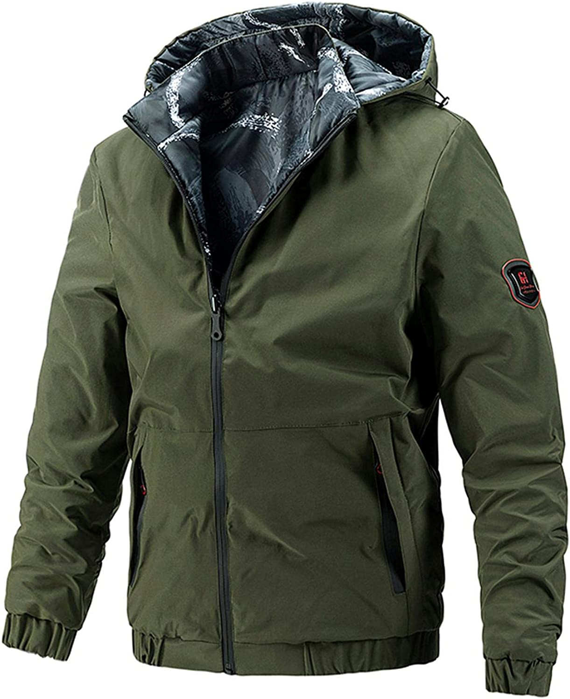 Men Casual Jacket Lightweight Hoodies Coats Autumn&Winter Wear On Both Sides Pockets Hooded Outwear Blouse