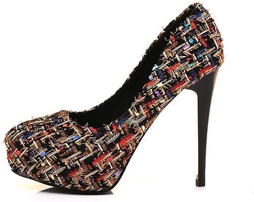 YAN zapatos de tacón de Aguja para mujer Tejido Colorblock Moda Tacón Alto Boca Baja zapatos de mujer zapatos de Fiesta de Bodas y Vestidos de Noche