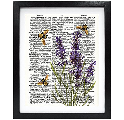 Susie Arts 8X10 Unframed Bees with Lavender Flowers Upcycled Vintage Dictionary Art Print Book Art...