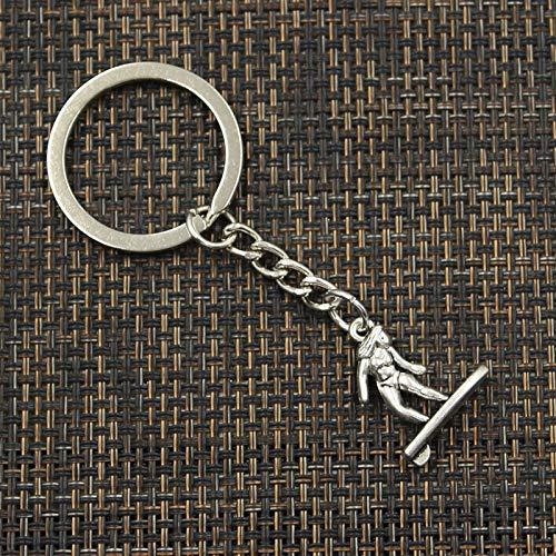 WANGY Llavero de 3 cm, Llavero de Metal, Llavero,Bronce Antiguo, Plateado, Surf, 21x18mm, Colgante
