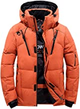 AIEason Men's Winter Quilted Puffer Jacket Full-Length Hooded Coat Thick White Duck Down Jacket Outwear with Left Arm Pocket