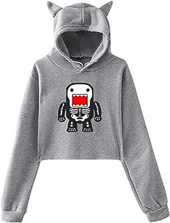 Funny Cool Domo-kun Skeleton Women's Cat Ear Hoodie Short Sweatshirt Crop Top