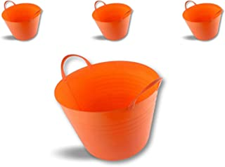 Seau bassine panier souple | Ø40-25 litres - Orange | Lot de 3 | Récipient multifonction polyéthylène plastique flexible r...