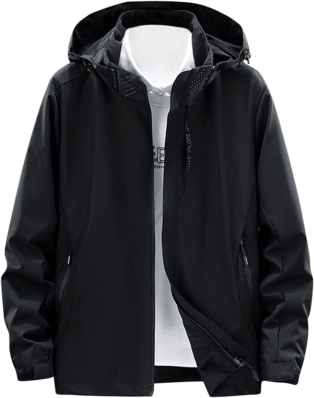 FORUU Men's Waterproof Hoodie Jacket 2021,Outdoor Jackets Windproof Colorblock Detachable Hood Zipper Jacket Pocket Coat