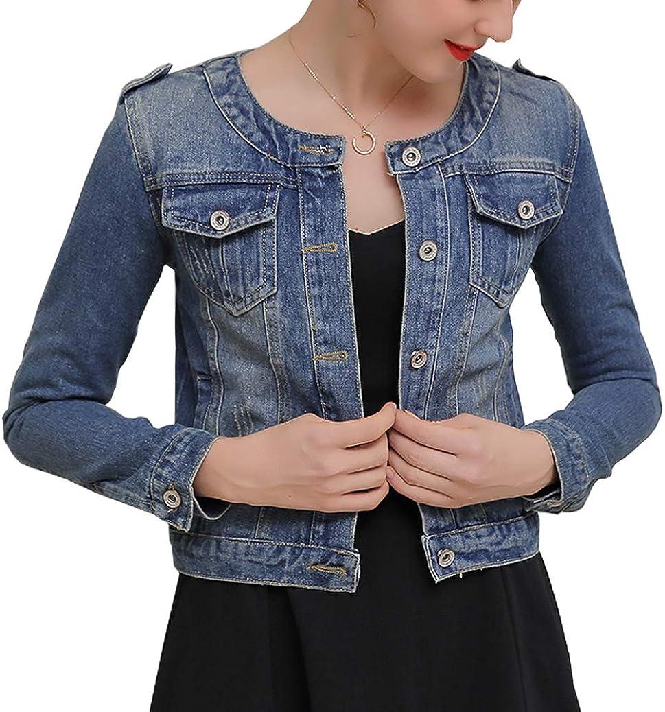 Denim Jackets Trendy XU Women Retro Collarless Long Sleeve Short Crop Jeans Coat