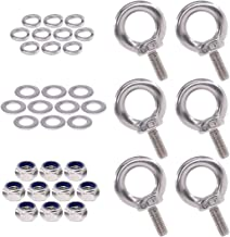 Swpeet 36Pcs 304 Stainless Steel M5 Male Thread Lifting Ring Eye Bolt Kit, Including 6Pcs M5 Eye Bolt with 10Pcs Lock Nuts, 10Pcs Lock Washers and 10Pcs Flat Washers