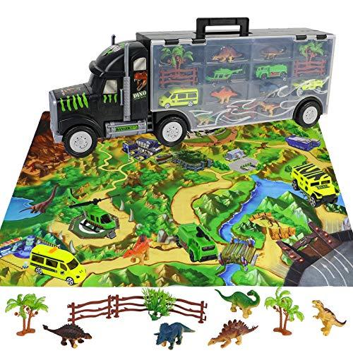 Camion Transportador de Coches Remolque Juguetes Dinosaurios para Niños 3 4 5 6 Años Portacoches Juguete Conjunto Playset Incluye Total de 16 Accesorios