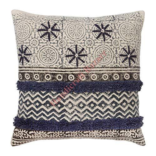 Handicraft Bazarr 18'' Halloween Decorative Embroidery Floral Vintage Throw Cotton Cushion Cover Boho Rustic Hallway Floor Pillow Case Indian Cotton Sofa Pillow Cover Christmas Bed Pillow Cover