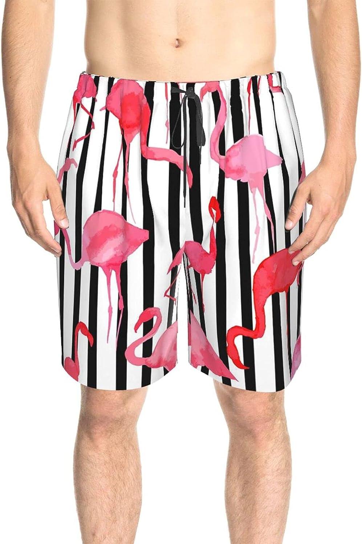 Men's Swim Trunks Pink Stripe Flamingo Swim Short Boardshort Fast Dry Fashion Surf Beach Shorts with Lining