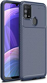 Rock Samsung Galaxy M31 Case, [Carbon Fiber Lightweight] [Anti-Slip] [Anti-Scratch] Flexible Protective Cover (blue)