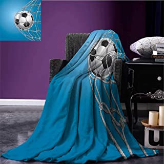 sunsunshine Soccer Throw Blanket Goal Football in Net Entertainment Playing for Winning Active Lifestyle Blanket as Bedspread Blue Pale Grey Black Bed or Couch 50