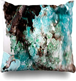 Ahawoso Throw Pillow Cover Oxidization Green Gem Vibrant Blue Rosasite Calcite Crystal Mining Mineral Industrial Turquoise Decorative Pillow Case 18x18 Inches Square Home Decor Pillowcase