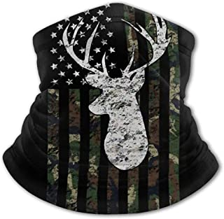 Deer Camo Camouflage American Flag Hunting Kids Face Mask Reusable Neck Gaiter Summer Cooling Face Cover Shield Scarf,Boys Girls Multi Function Uv Protection Headband Youth Ice Silk Bandana