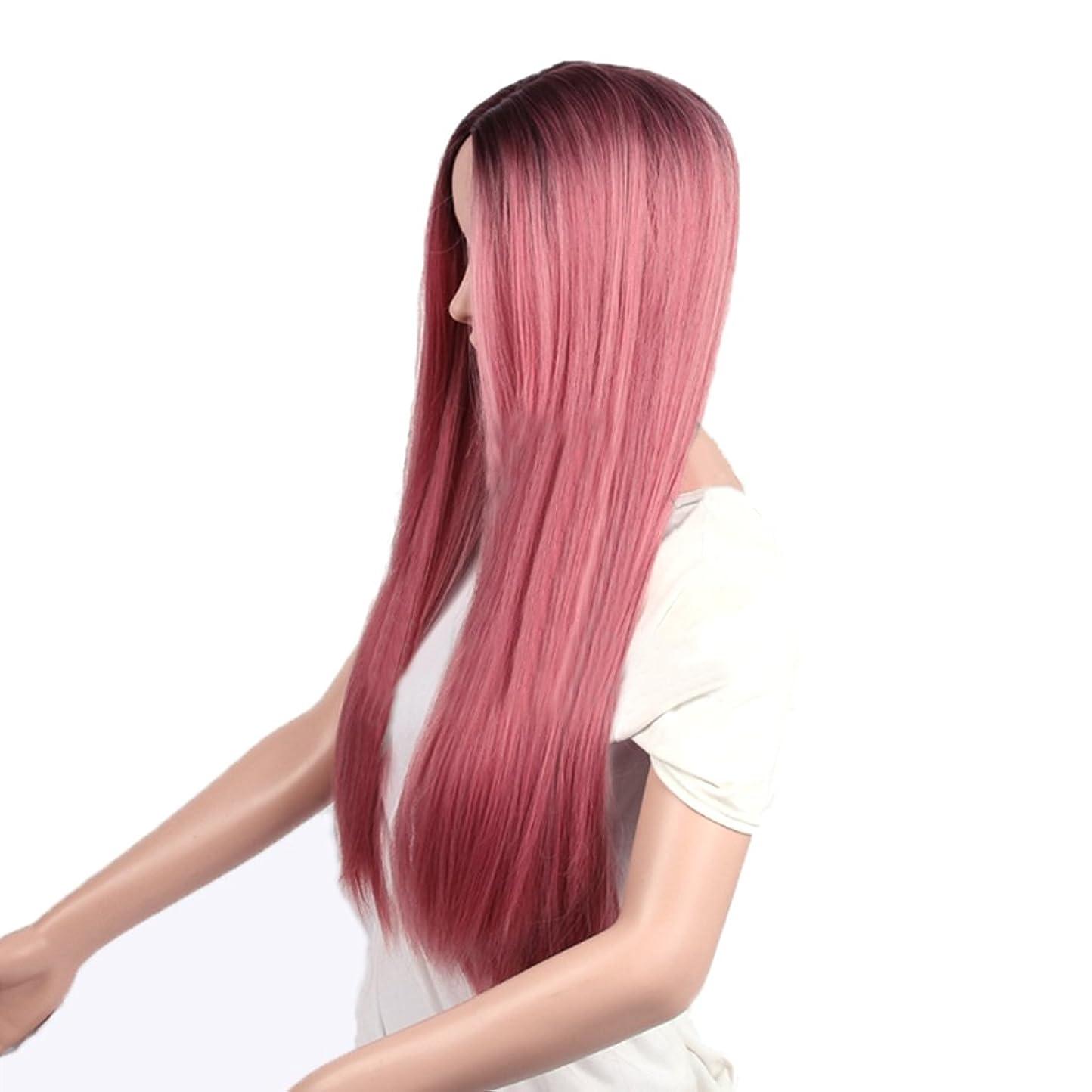 高くしつけわずかな女性のための26インチの化学繊維の毛のかつらロングストレートナチュラルグラデーションの色はコスプレ/パーティーのロングロールバンズウィッグとピンクのかつらをローズ (Design : Rose pink2)