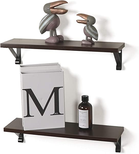 SODUKU Floating Shelves Wall Mounted Wall Storage Shelves For Living Room Bathroom Kitchen Set Of 2 Walnut 20 Inch