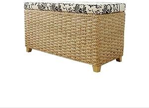 Rattan-Stroh-Speicher-Schuh-Bank-Speicher-Schemel kann mit Osmanen 80x40x30cm bedeckt Werden Footstools