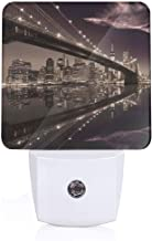 Brooklyn Bridge Sunset NYC View Skyline Tourist Attraction Modern City Plug-in LED Night Light Lamp with Dusk to Dawn Sensor, Night Home Decor Bed Lamp
