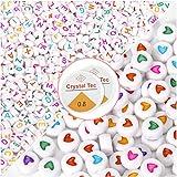 Abalorios Para Hacer Collares,Cuentas para Pulseras,1200 Cuentas Letras de Colores Amor Cuentas de Corazón,Con Cuerda de Cristal para Pulseras DIY Manualidades