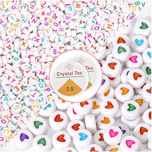 1200Pz Perline per Collane, Lettere per Braccialetti, Variopinto Perline con Lettere Misto Perline Alfabeto e Perline a Forma di Cuore,con Corda di Cristallo per Fai da Te Bracciali Collane