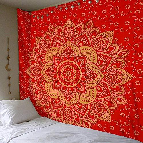 Tapiz de Mandala para Colgar en la Pared, Tapiz Decorativo con Estampado de Colores, Alfombra de Pared Boho Floral Indio, 150 * 150 cm-05_Porcelana