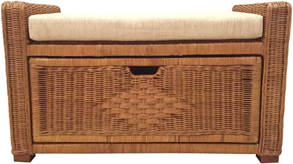 Natural Handmade Rattan Wicker Chest Storage Ottoman Bench Size 32 Inch Eva With Beige Cushion 3 Colors White Light Brown Dark Brown Light Brown