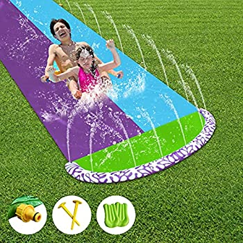 Cuuejoy Slip and Slide,Water Slides for Kids Backyard with 2 Bodyboards,Summer Toy with Build in Sprinkler for Outdoor Water Toys 16ft X 5ft
