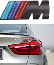 M Power Badge Tri Color Rear Emblem Fender Side Emblem Car Decal Logo Sticker for B M W Accessories-1pcs(black)