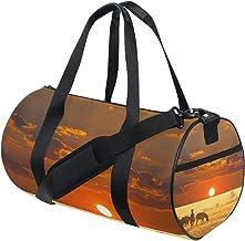 FANTAZIO Gym Duffel Bag Afrikaanse Zebra Zonsondergang Landschap Patroon Mens Gym Duffel Bag