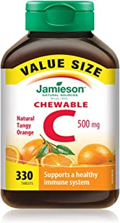 Jamieson Chewable Vitamin-C 500mg Value Supplement Pack(330 Count), Tangy Orange, Imported from Canada}